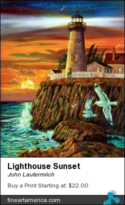 Lighthouse Sunset by John Lautermilch - Painting - Oil On Canvas