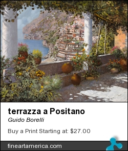 terrazza a Positano by Guido Borelli - Painting - Oil On Canvas