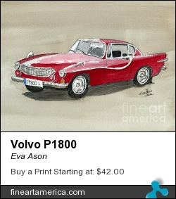 Volvo P1800 by Eva Ason - Painting - Watercolor