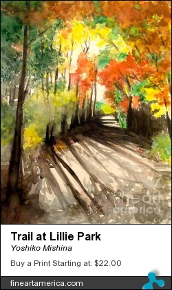 Trail At Lillie Park by Yoshiko Mishina - Painting - Watercolor