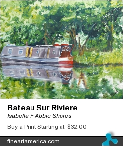 Bateau Sur Riviere by Isabella F Abbie Shores - Painting - Oil On Canvas
