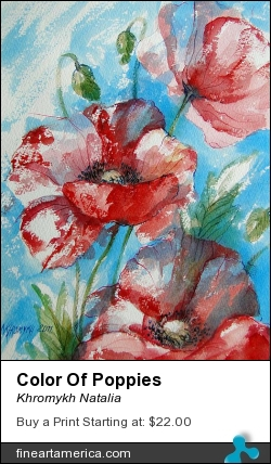 Color Of Poppies by Khromykh Natalia - Painting - Watercolor,paper,ink