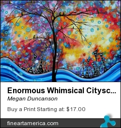 Enormous Whimsical Cityscape Tree Bird Painting Original Landscape Art Worlds Away By Madart by Megan Duncanson - Painting - Acrylic On Canvas