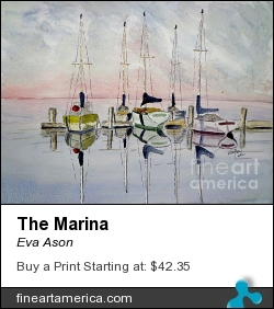 The Marina by Eva Ason - Painting - Watercolor