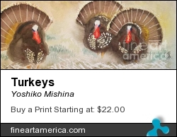 Turkeys by Yoshiko Mishina - Painting - Watercolor