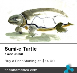 Sumi-e Turtle by Ellen Miffitt - Painting - Sumi-e On Sumi Paper
