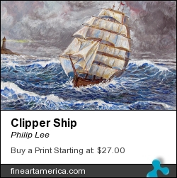 Clipper Ship by Philip Lee - Painting - Oil Painting