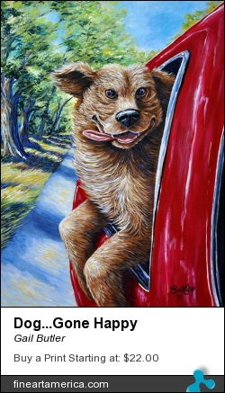 Dog...gone Happy by Gail Butler - Painting - Acrylic On Canvas