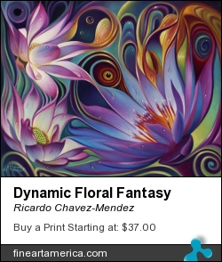 Dynamic Floral Fantasy by Ricardo Chavez-Mendez - Painting - Oil
