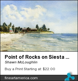 Point Of Rocks On Siesta Key by Shawn McLoughlin - Painting - Watercolor