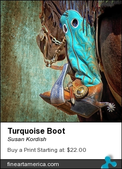 Turquoise Boot by Susan Kordish - Photograph - Photography/digital Art