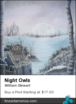 Night Owls by William Stewart - Painting - Aqrylic