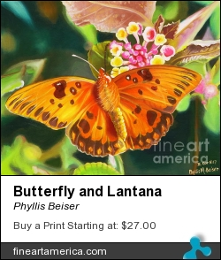 Butterfly And Lantana by Phyllis Beiser - Painting - Oil On Canvas