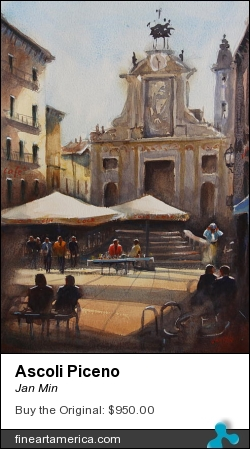Ascoli Piceno by Jan Min - Painting - Aquarel
