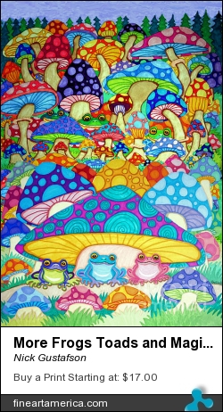 More Frogs Toads And Magic Mushrooms by Nick Gustafson - Drawing - Prisma Markers
