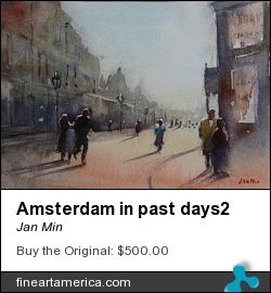 Amsterdam In Past Days2 by Jan Min - Painting - Aquarel