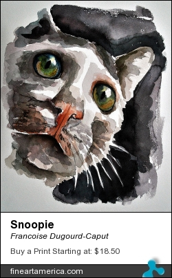 Snoopie by Francoise Dugourd-Caput - Painting - Watercolor