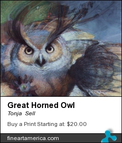 Great Horned Owl by Tonja  Sell - Drawing - Pastel Drawing On Paper