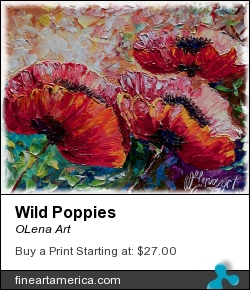Wild Poppies by OLena Art - Painting - Oil Palette Knife
