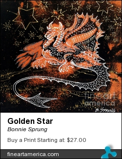 Golden Star by Bonnie Sprung - Painting - Dimensional Textile Paint On Black Canvas
