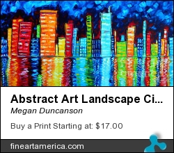 Abstract Art Landscape City Cityscape Textured Painting City Nights II By Madart by Megan Duncanson - Painting - Acrylic On Canvas
