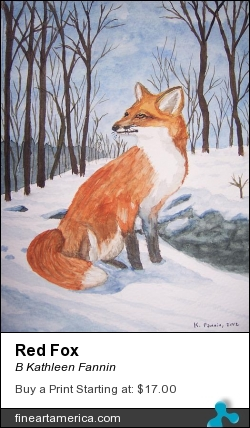 Red Fox by B Kathleen Fannin - Painting - Watercolor