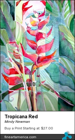 Tropicana Red by Mindy Newman - Painting - Watercolor