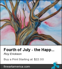 Fourth Of July - The Happy Tree by Roy Erickson - Painting - Watercolor