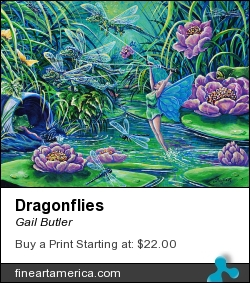 Dragonflies by Gail Butler - Painting - Acrylic On Canvas