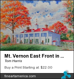 Mt. Vernon East Front In Fall by Tom Harris - Painting - Watercolor