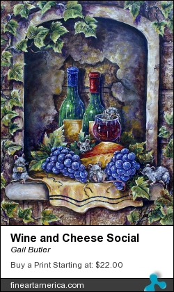 Wine And Cheese Social by Gail Butler - Painting - Acrylic On Canvas
