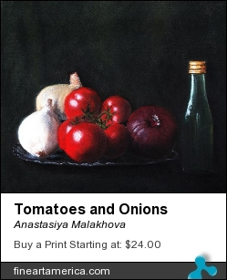 Tomatoes and Onions by Anastasiya Malakhova - pastels on paper