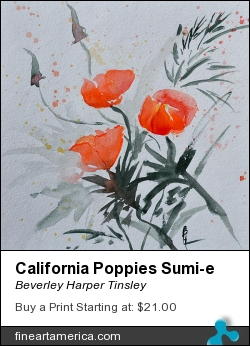 California Poppies Sumi-e by Beverley Harper Tinsley - Painting - Watercolor