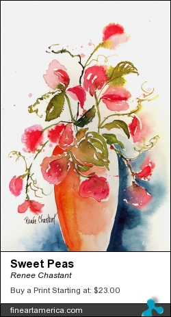 Sweet Peas by Renee Chastant - Painting - Watercolor On Paper