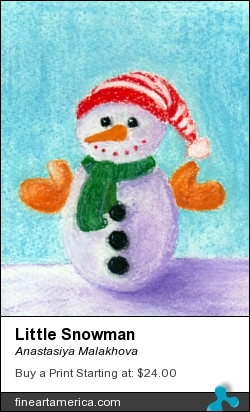 Little Snowman by Anastasiya Malakhova - pastels on watercolor paper