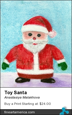 Toy Santa by Anastasiya Malakhova - pastels on watercolor paper