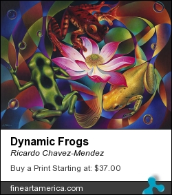 Dynamic Frogs by Ricardo Chavez-Mendez - Painting - Oil