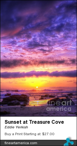 Sunset At Treasure Cove by Eddie Yerkish - Photograph - Hdr Photograph