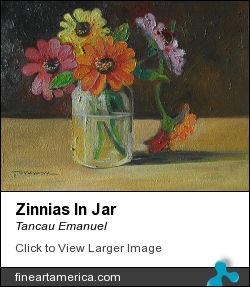 Zinnias In Jar by Tancau Emanuel - Painting - Oil