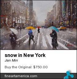 snow in New York by Jan Min - Painting - Aquarel