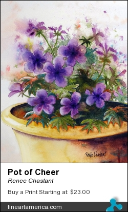 Pot Of Cheer by Renee Chastant - Painting - Watercolor On Paper