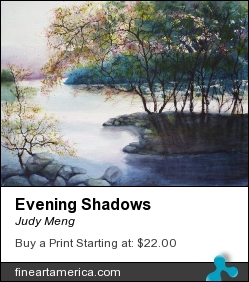 Evening Shadows by Judy Meng - Painting - Watercolor