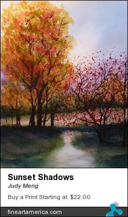 Sunset Shadows by Judy Meng - Painting - Watercolor