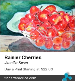 Rainier Cherries by Jennifer Kwon - Painting - Watercolor