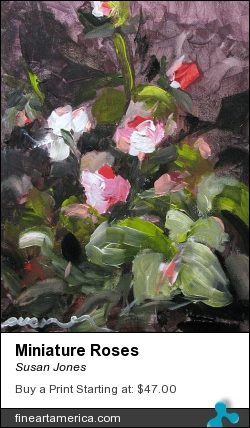 Miniature Roses by Susan Jones - Painting - Oil On Museum Quality Panel
