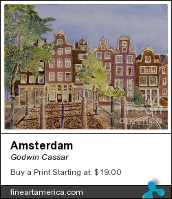 Amsterdam by Godwin Cassar - Painting - Watercolours