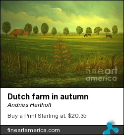 Dutch Farm In Autumn by Andries Hartholt - Painting - Oil On Canvas
