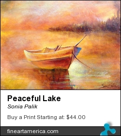 Peaceful Lake by Sonia Palik - Painting - Acrylics