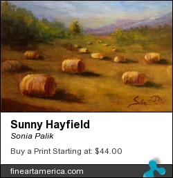 Sunny Hayfield by Sonia Palik - Painting - Acrylics