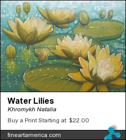 Water Lilies by Khromykh Natalia - Painting - Painting On Silk